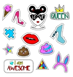 Trendy fashionable pins patches labels stickers vector image vector image