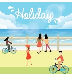 Holiday season bright sky people go to the beach vector