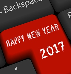 Happy new year 2017 on enter keyboard vector