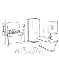 Hand drawn bathroom furniture sketch vector