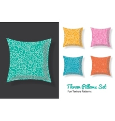 Set of throw pillows in matching unique natural vector