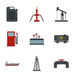 gasoline processing icons set flat style vector image