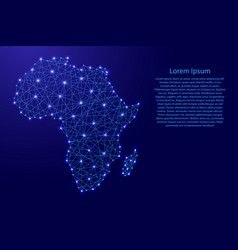 Map of africa from polygonal blue lines vector
