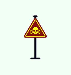 Skull danger road sign vector