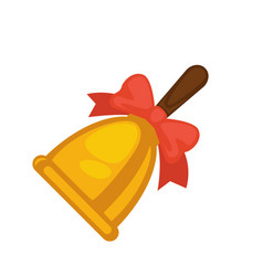 School yellow bell with red bow and brown handle vector