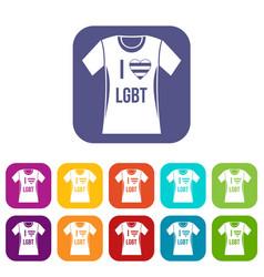 T-shirt i love lgbt icons set vector