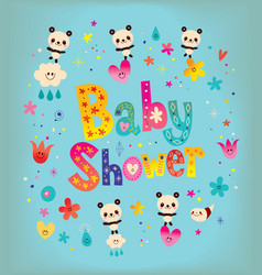 Baby shower card with cute panda bears vector