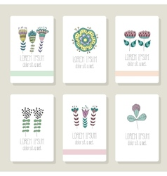 Set of cards invitation with hand drawn floral vector