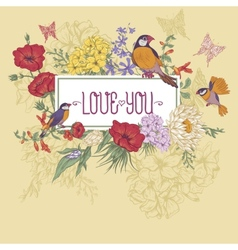 Vintage floral greeting card with birds and vector