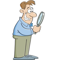 Cartoon man looking through a magnifying glass vector