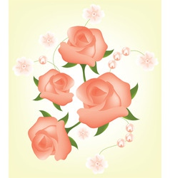 vector abstract background with red roses vector image