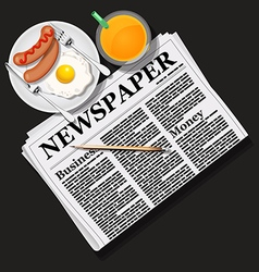 Newspaper with orange juice and breakfast vector