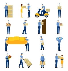 Delivery man set vector