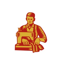 Tailor sewing machine woodcut vector