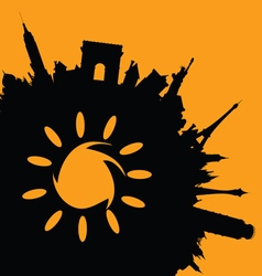 Famous monuments with sun vector