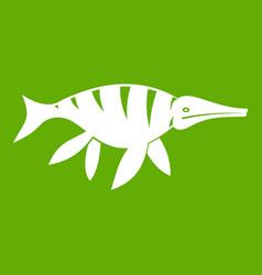 aquatic dinosaur icon green vector image vector image