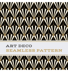 Art deco seamless pattern black white and gold vector