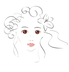 Beautiful Girl Sketch vector image