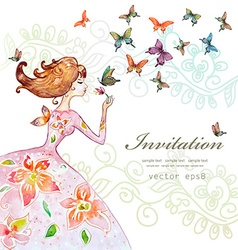 Beautiful girl with butterfly watercolor painting vector