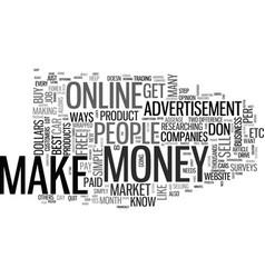 best ways to make money online text word cloud vector image vector image
