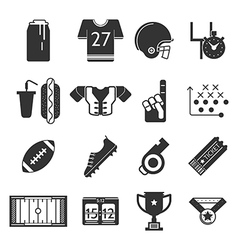 Black icons collection for American football vector image