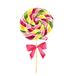 Bright watercolor lollipop vector