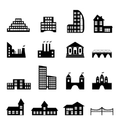 Buildings flat black icons set vector image