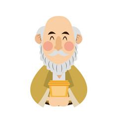 Cartoon portrait wise king with gift vector