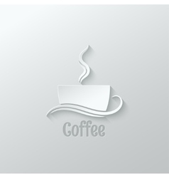 coffee cup paper cut design background vector image vector image
