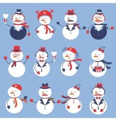 Cute snowmen collection vector