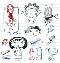 Female beauty beauty salon doodle set vector