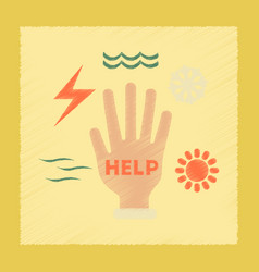 flat shading style icon hand natural disasters vector image