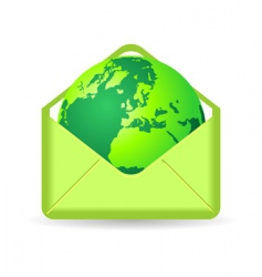globe in envelope vector image