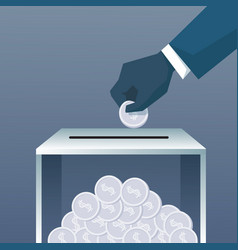 Hand putting coin in donate box for charity vector