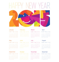 Happy new year 2015 colorful design calendar vector