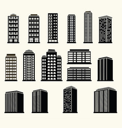 icons of urban black and white modern buildings vector image vector image