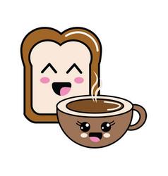 Kawaii happy halved bread and coffee cup vector