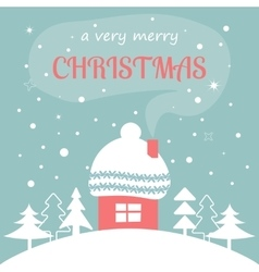 Merry christmas card with home vector