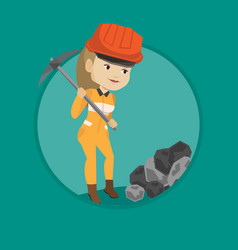miner working with pickaxe vector image