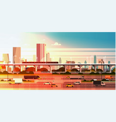 modern city over sunset background cityscape with vector image vector image