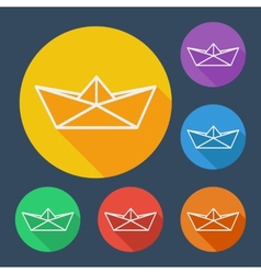 Paper ship flat icons set with long shadow vector image vector image