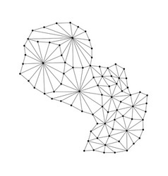 paraguay map of polygonal mosaic lines network vector image