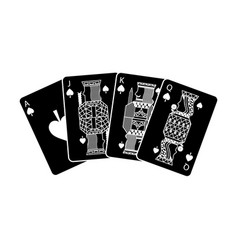 Poker playing cards ace jack queen and king spade vector
