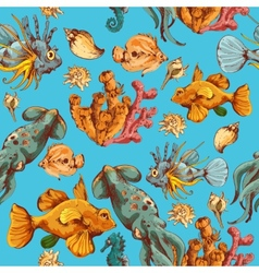 Sea creatures sketch colored seamless pattern vector image vector image