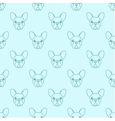 Seamless pattern made of french bulldog head vector