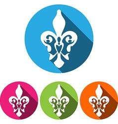 Set of four white silhouettes fleur de lisfrench vector image
