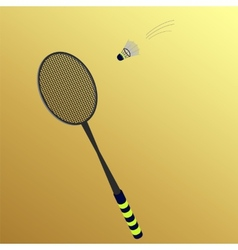 shuttlecock flies to badminton rackets vector image
