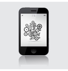Smartphone with Cogs - Wheels on Grey Backgr vector image vector image