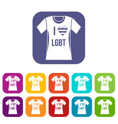 t-shirt i love lgbt icons set vector image vector image