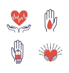 Volunteer icons set vector image